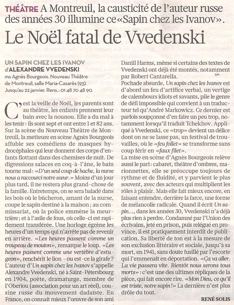 René Solis Le Noël fatal de Vvedenski Libération 18 01 2010